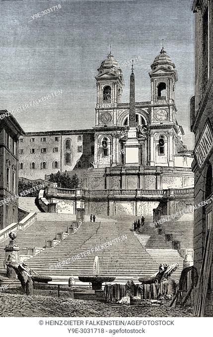The Spanish Steps, Trinità dei Monti church at the top, Rome, Italy, 19th Century