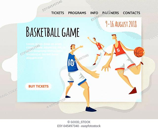 Basketball players in abstract flat style. Men playing with a basketball ball. Vector illutration, design template of sport site header, banner or poster