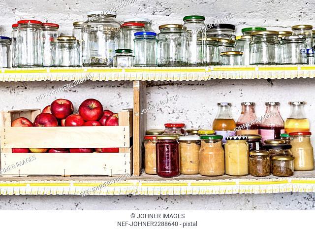 Jars and preserves on shelf