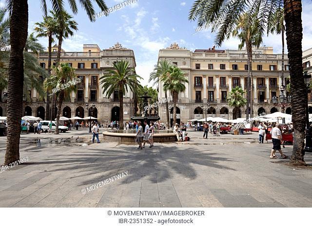 Plaça Reial, Royal Plaza, Barcelona, Catalonia, Spain, Europe, PublicGround