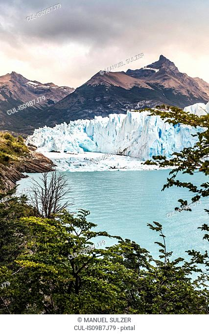 View of Lake Argentino, Perito Moreno Glacier and mountain in Los Glaciares National Park, Patagonia, Chile