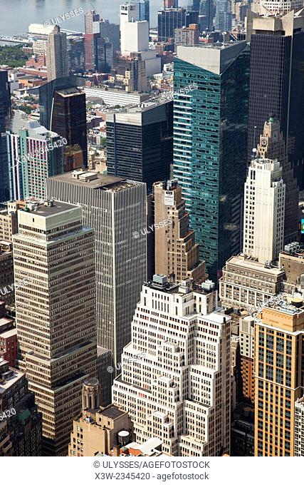 cityscape, view from empire state building, west side, skyscrapers, Manhattan, New York, Usa, America