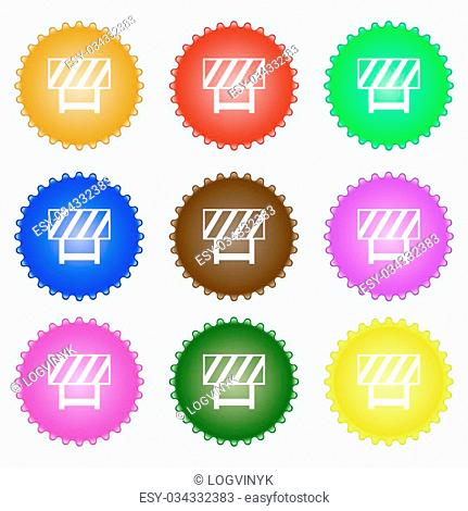 road barrier icon sign. A set of nine different colored labels. Vector illustration