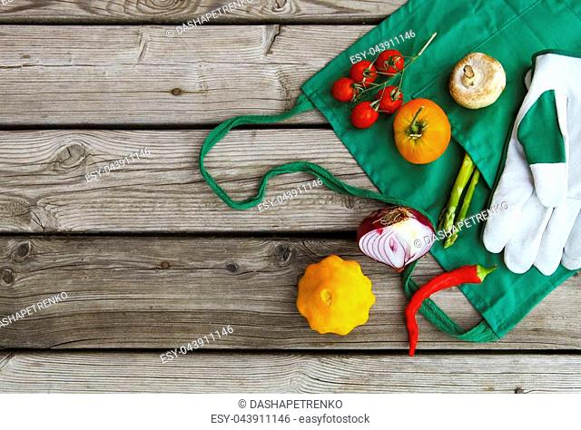 Fresh farmers market fruits and vegetables with copy space