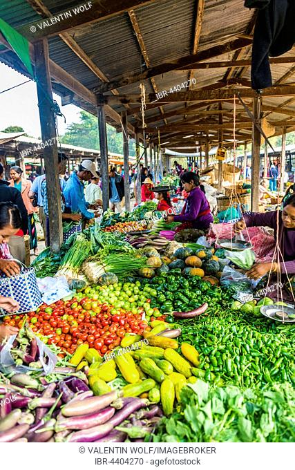 Market stalls with fresh vegetables, Nampan, Inle Lake, Shan State, Myanmar