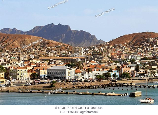 View over the City of Mindelo the main city at Sao Vicente Island at the Cape Verde Archipelago