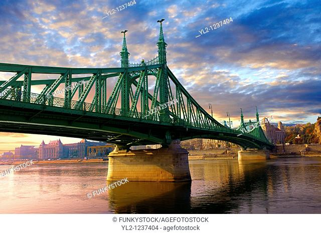 Liberty or Freedom Bridge Szabadság híd, looking towards the Hotel Gellert  Budapest, Hungary
