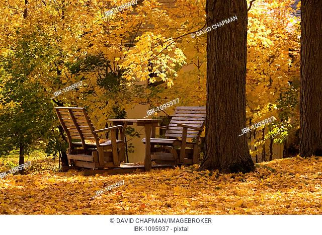 Chairs, table, autumn colours, Quebec, Canada