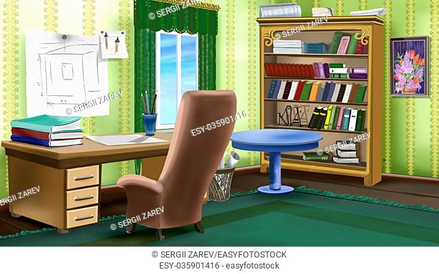 Digital painting of the illustrator or painter working place. Interior with table and armchair