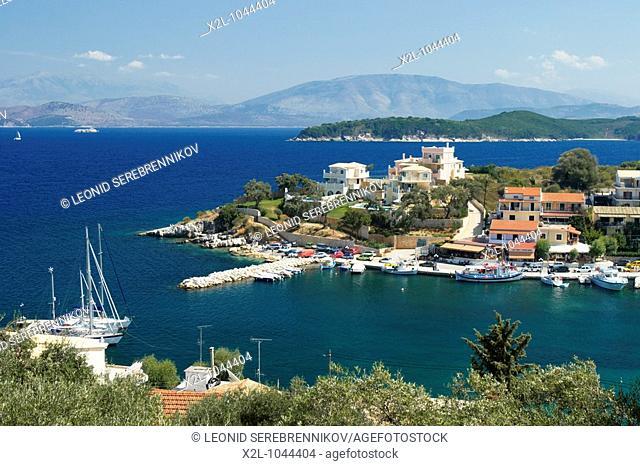 Harbour and town of Kassiopi  Corfu island, Greece