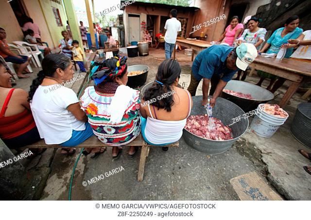 Mazahua people celbrating their Santo Patrono at Jalapa, Oaxaca. Mexico, with three days of music, party, food and mass