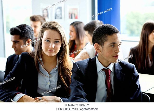 Teenage schoolchildren in classroom