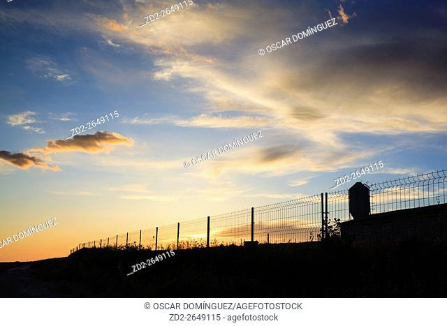 Farm at sunset. Lleida province. Catalonia. Spain