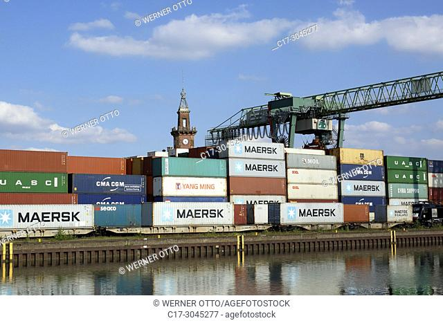 Dortmund, D-Dortmund, Ruhr area, Westphalia, North Rhine-Westphalia, NRW, Dortmund Port at the Dortmund-Ems Canal, inland harbour, container terminal