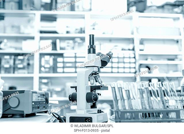 Microscope in a laboratory
