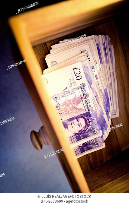 Sterling pounds in drawer