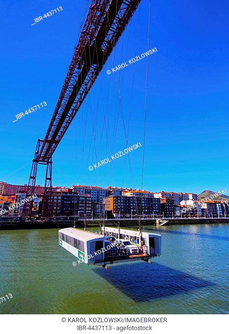 The Vizcaya Suspension Bridge, Puente Colgante or Puente de Vizcaya, connecting Portugalete and Getxo, Biscay, Basque Country, Spain