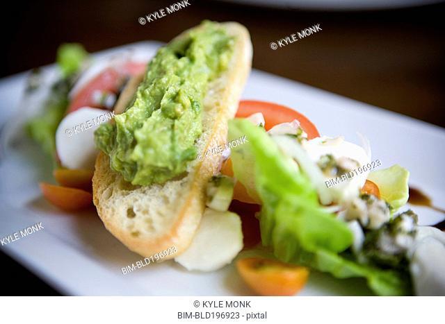 Close up of avocado salad on plate