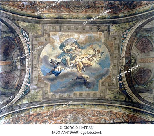 The hug between Peace and Justice (L'abbraccio fra Pace e Giustizia), attributed to Giacomo Zampa, late 18th century, fresco