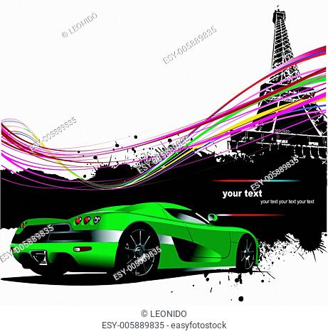 Green sport car with Paris image background. Vector illustration