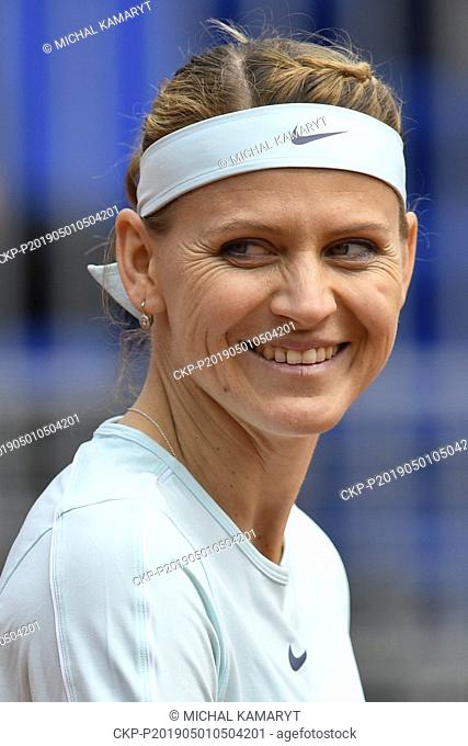 Doubles match Lucie Safarova, pictured, and Barbora Stefkova (both Czech) against Yana Sizikova (Russia) and Makoto Ninomiya (Japan) during the J&T Banka Prague...