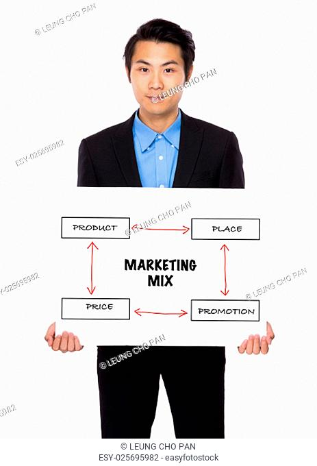 Asian Businessman holding a banner showing business mix concept