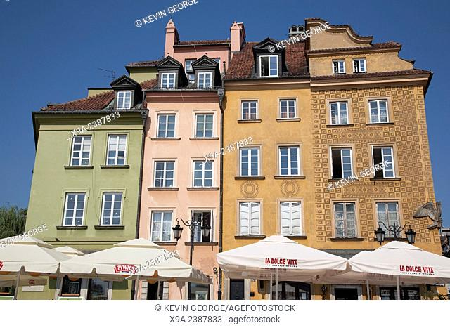 Buildings on Plac Zamkowy - Castle Square; Warsaw; Poland