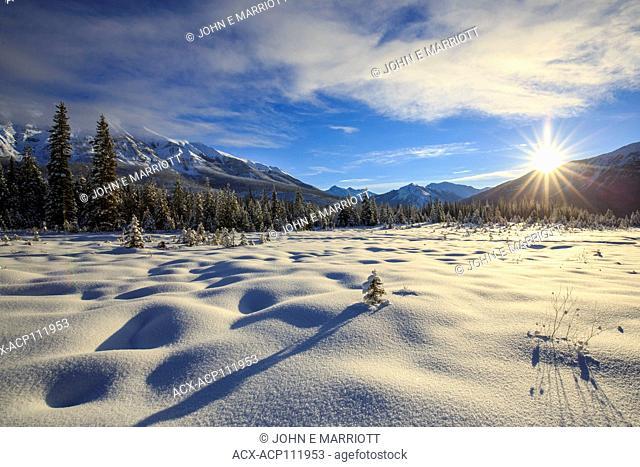 Kootenay River Valley and Mt Shanks in Kootenay National Park, BC