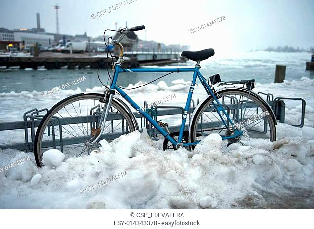 Bicycle in snow, Helsinki, Finland