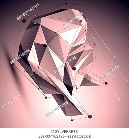 Asymmetric 3D abstract lattice object with lines mesh placed over shaded background