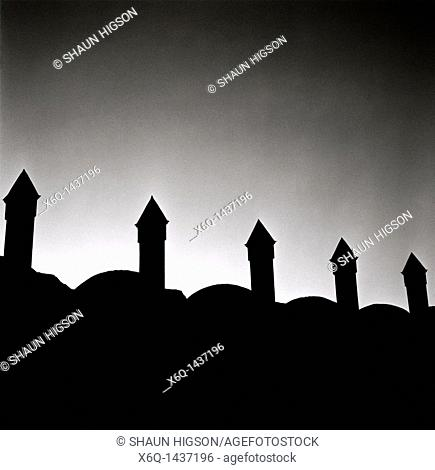 The minarets of the Blue Mosque in Istanbul in Turkey in the Middle East