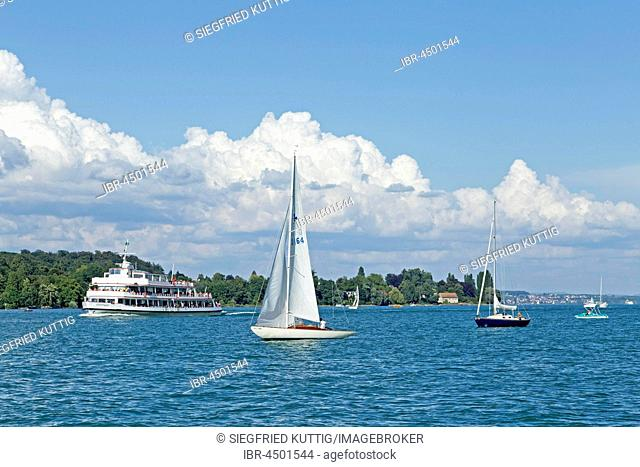 Boat traffic near Konstanz, Lake Constance, Baden-Württemberg, Germany