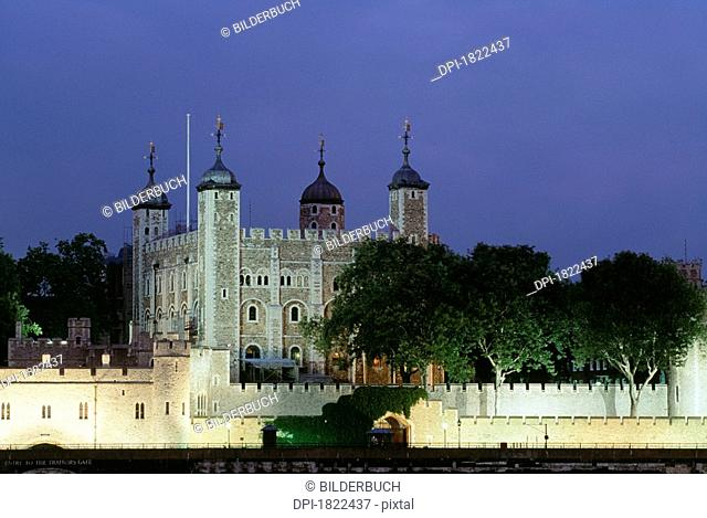 The Tower of London at Night, London, England