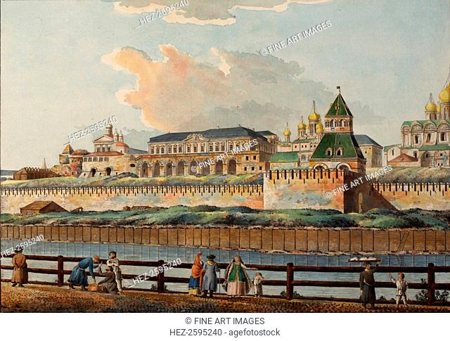 View of the Winter Kremlin Palace from Moskva River, 1780s. Found in the collection of the Institut of Russian Literature IRLI (Pushkin-House), St Petersburg