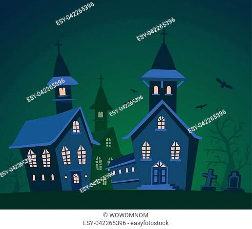 Vector halloween illustration of haunted house, cemetery, bats with trees on dark green background. Flat style design of scary castle for halloween greeting...
