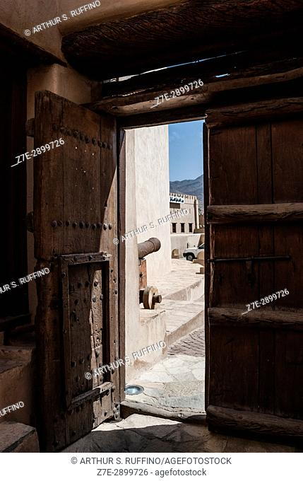 Entrance door to the Nizwa Fort, Nizwa, Ad Dakhiliyah Governorate, Oman