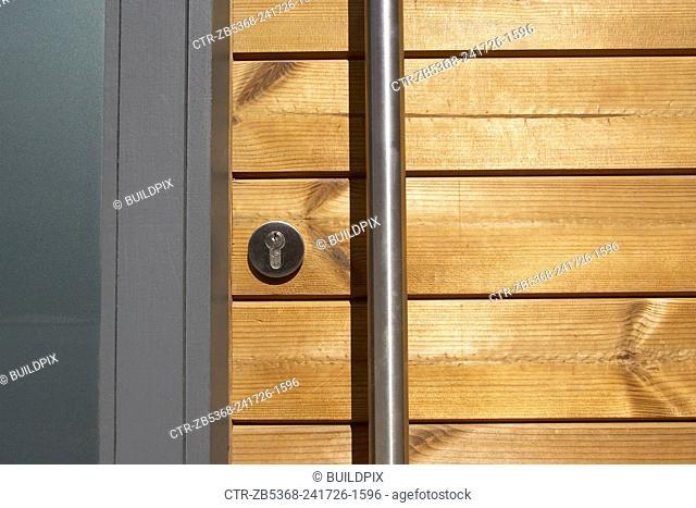Close up of a wooden door