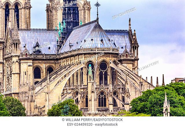 Flying Butresses Spires Towers Overcast Skies Notre Dame Cathedral Paris France. Notre Dame was built between 1163 and 1250 AD