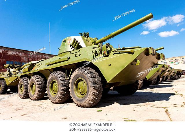 SAMARA, RUSSIA - MAY 8, 2014: 2S23 Nona-SVK 120mm self-propelled mortar carrier on wheeled chassis of the BTR-80