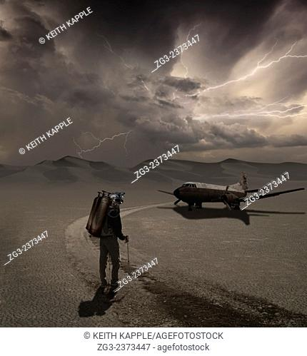 Man walking into a new adventure, A photo Surrealism illustration