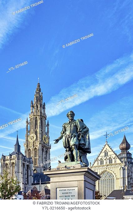 Statue of Rubens in Groenplaats and the belfry of the Cathedral of our Lady, Antwerp, Belgium