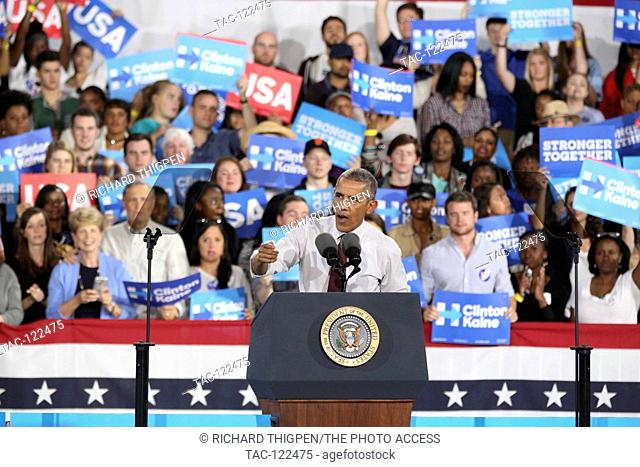 President Obama speaks at the PNC Music Pavilion in Charlotte, NC on November 4th, 2016, just four days before the 2016 Presidential election