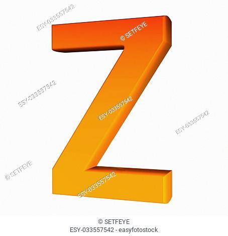 Orange alphabet. Letter Z 3d isolated on white
