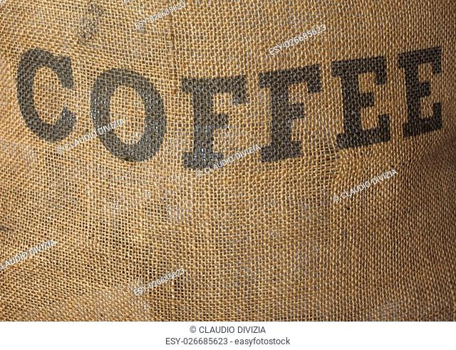 Detail of hessian sack bag of roasted coffee