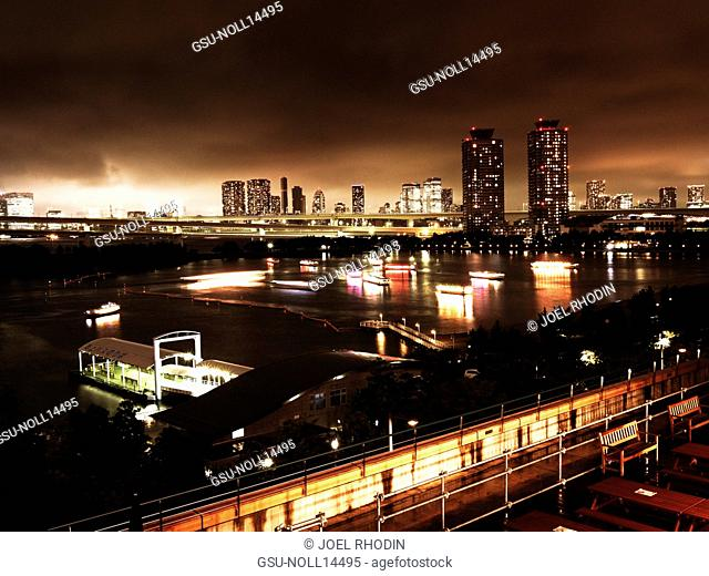 Skyline and River at Night, Tokyo, Japan