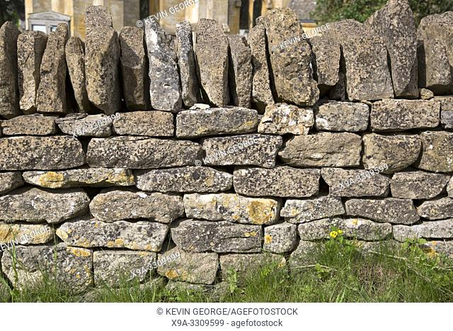 Stone Wall, Snowshill Village, Cotswolds; Gloucestershire; England