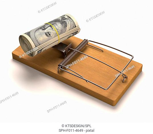 Mouse trap with dollar bills, computer illustration
