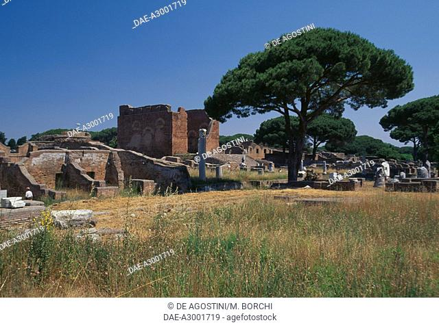 View of the Capitolium and the Forum, Archaeological Park of Ostia Antica, Lazio, Italy, Roman civilization, 2nd century
