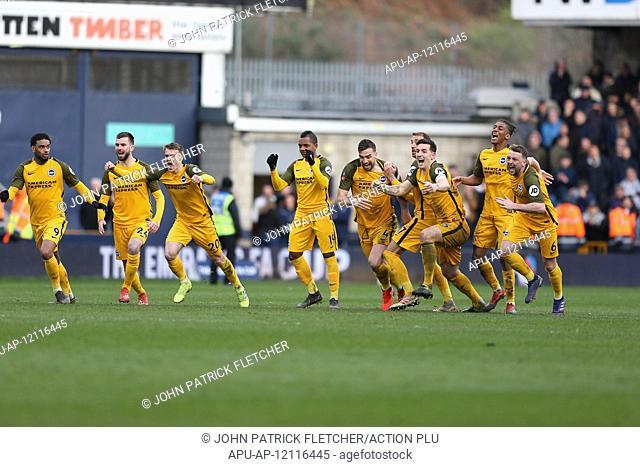 2019 FA Cup Football Quarter Final Millwall v Brighton Mar 17th. 17th March 2019, The Den, London, England; The Emirates FA Cup, quarter final
