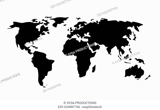 travel, cartography and geography concept - black world map illustration
